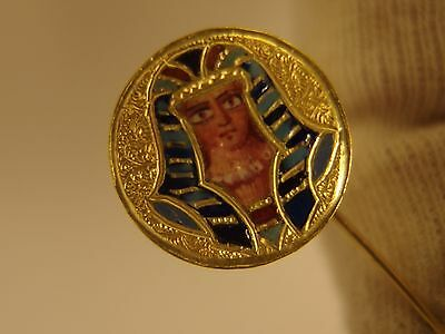 1825 Exquisite Antique 18K Solid Yellow Gold Pin/brooch Egypt Pharaon Enamel