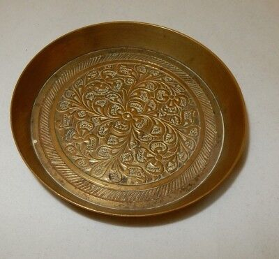 Vintage Indian Brass Hand Engraved Pin Dish