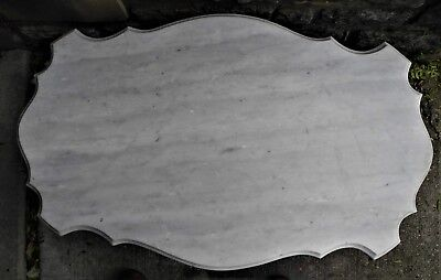 Antique Victorian Scalloped Oval Beveled White Marble Table Top