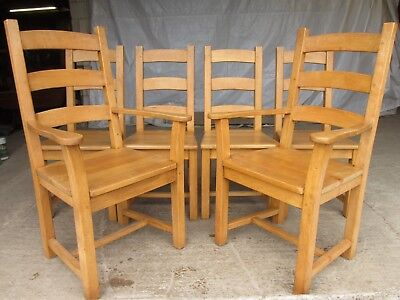 Set of 6 ash ladder back kitchen dining chairs 2 carvers and 4 chairs (ref 624)