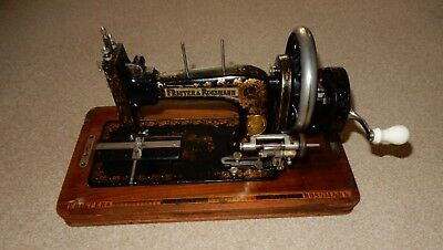 Vintage Frister and Rossmann Hand Crank Sewing Machine in Inlaid Wooden Case