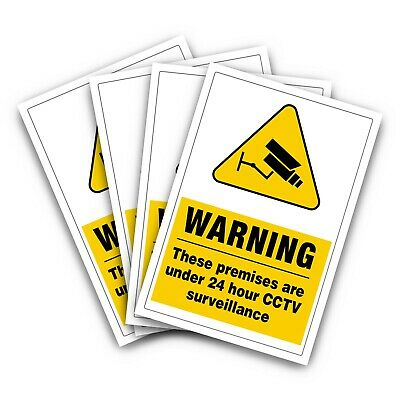 """CCTV SURVEILLANCE 24 HOURS MONITORING Stickers """"4 STICKERS"""" (S1069)"""