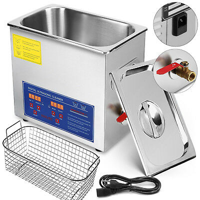 New Stainless Steel 6L Liter Industry Heated Ultrasonic Cleaner Heater Timer