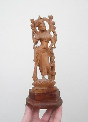 Large Carved Wooden Hindu Icon - Four Armed Goddess Statue - This Is Beautiful