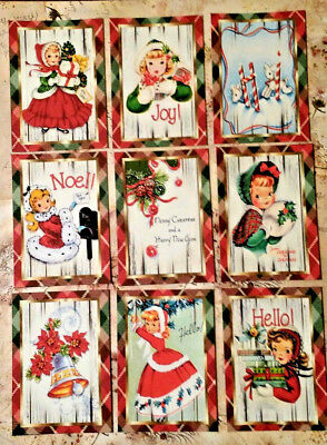 9 Vintage Christmas Greetings~Craft Cards~No Protector~Scrapbooking~Card Crafts