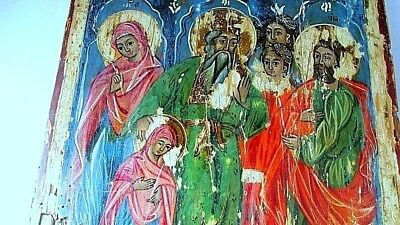 ANTIQUE very old ancient Orthodox icon of Virgin Mary- Blessed Virgin