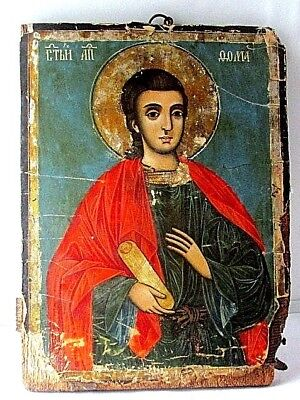 ANTIQUE ANCIENT very old  Orthodox icon of holy Apostle Thomas