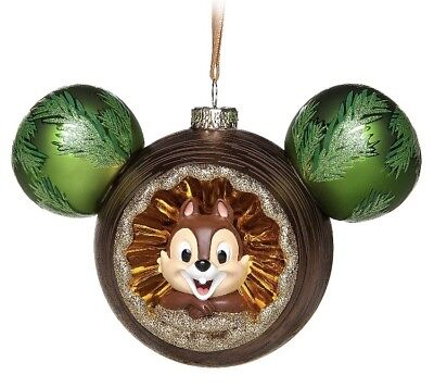 Chip & Dale Mickey Ears Icon Globe Ornament Disney World Theme Parks