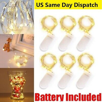 2m 20 LED Micro Silver Copper Wire String Fairy Lights Xmas Decor Waterproof Lot