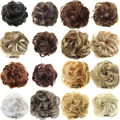 Drawstring Curly Wave Hair Bun Ponytail Comb Hair Extension Hairpiece Wigs Women