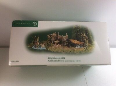 Department 56 Village Accessories WATCHING FOR DUCKS Set 2 Boat Dog NEW SEALED