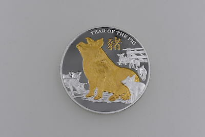 Gold Pig Commemorative Coin Year of Pig Coins New Year Gifts Drawstring bTS
