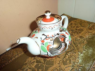 Russian Porcelain 14Cmlong  With Teapot For One With Chicken/flower/pattern Deco