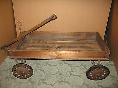 Antique Wood Wooden Coaster Wagon – Rubber Tires – Ball Bearings – Metal Frame