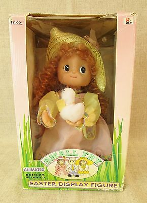1994 Vtg Telco Motion Animated Easter Girl Doll Display Figure W/chick Works Nib