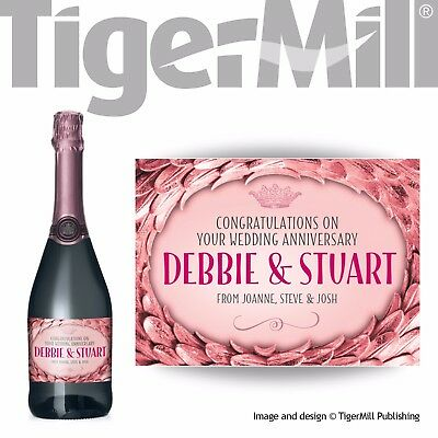 PERSONALISED rose gold Champagne label Anniversary Valentine Engagement Wedding