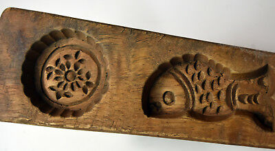 """8"""" Antique Hand Carved Asian Chinese Rice Cake Wooden Mold Floral Fish Design"""
