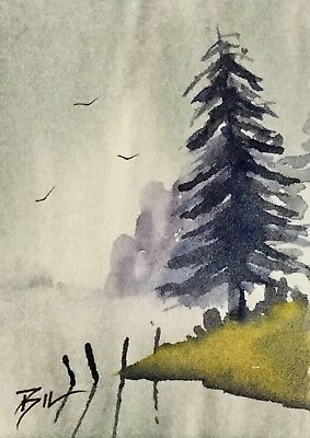 ACEO Original Art Painting by Bill Lupton - Lake View