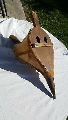 "Antique Wooden And Leather& Metal Fire Bellows 21""x10""x9"""