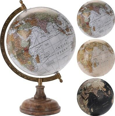 33cm Vintage Style Rotating Globe Atlas Swivel Map Earth Geography World Gift