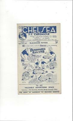 Chelsea v Blackburn Rovers Football Programme 1946/47