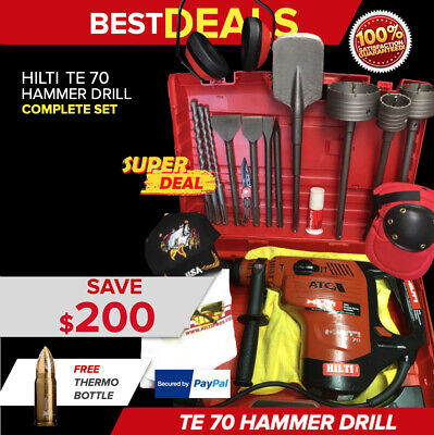 Hilti Te 70 Hammer Drill, Preowned, Free Thermal Bottle, Extras, Fast Shipping
