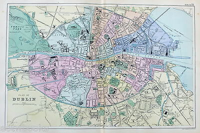 DUBLIN -  Original Large Antique City Plan / Map -  BACON , 1897.