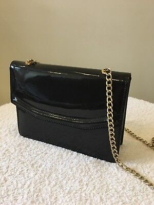 Vintage Black Patent Leather Handbag Jane Shilton
