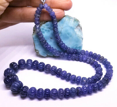 """RARE PURPLE BLUE AFRICAN TANZANITE MELON CARVED BEADs 5-14mm 278cts 18"""" STRAND"""
