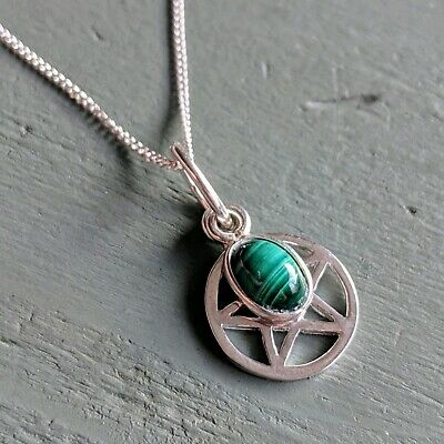 Dainty 925 Sterling Silver Pentagram & 6x4mm malachite Charm Pendant Wicca pagan
