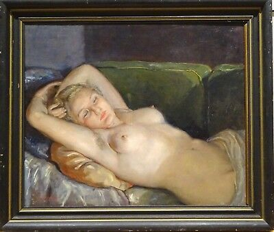 Fine Large Circa 1920 Nude Girl Sleeping Portrait Antique Oil Painting Signed