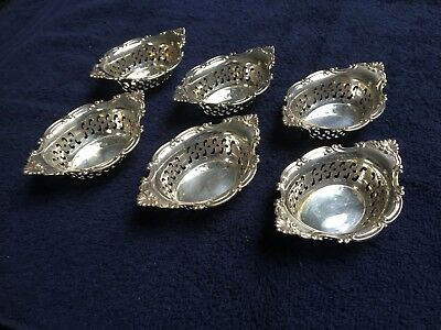 6 Small Antique Sterling Silver Nut Dishes Bowls Perforated Ornate Beautiful