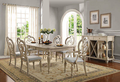 NEW Traditional Antique White Finish 7 piece Dining Room Table & Chairs Set IAC2