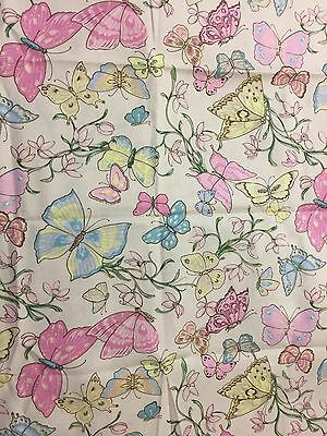 Pastel Pink Blue & Yellow Butterfly Butterflies & Flowers on Cream Fabric 23in
