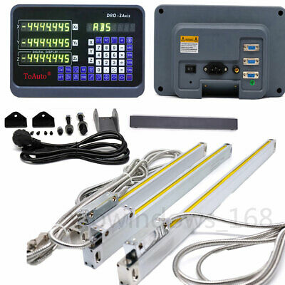 """3Axis Digital Readout DRO Kit +3pc Glass Linear Scales 12"""" 12"""" 28"""" Milling Grind"""