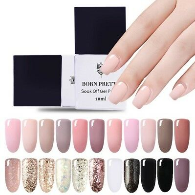 BORN PRETTY 10ML UV Gel Nail Polish Soak Off Base Top Coat Sequins Glitter Nude