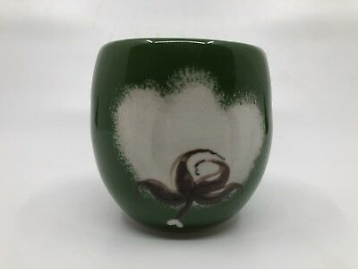 Handpainted Ceramic Cup Sake Indianola Miss MS Signed Green