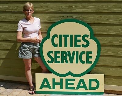 "Vintage Cities Service ""cloverleaf"" Diecut Sign Super Collectable Piece Minty!"
