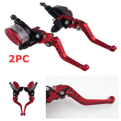 """1Pair 7/8"""" 22mm Motorcycle Hydraulic Brake Master Cylinder & Clutch Lever Red"""