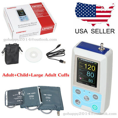 USA NIBP Ambulatory Blood Pressure Monitor ABPM50+adlut,child,large adult cuffs