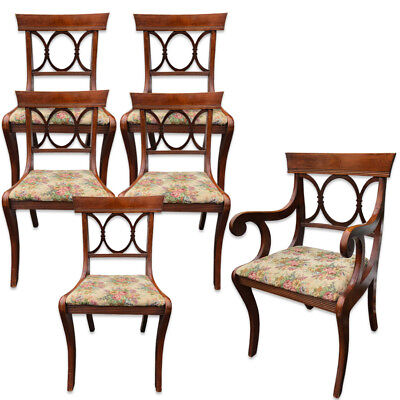 Set of 6 Antique Tell City Chair Co. Mahogany Country Dining Chairs