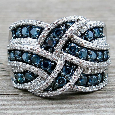 New Silver Ring Sapphire Band Blue Engagement Jewelry Women 925 Wedding Gorgeous