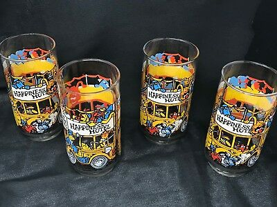 "Set of 4 McDonald's Drinking Glasses ""Great Muppet Caper Happiness Hotel""  16 oz"
