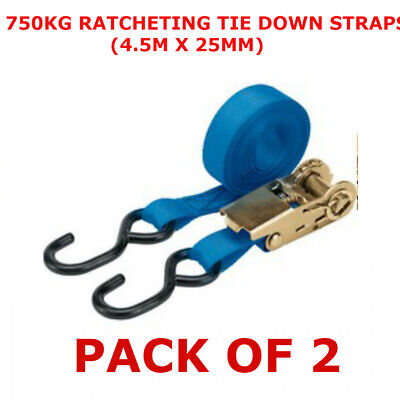 2PC Ratchet Tie Down Strap Set Roof Rack Cargo Trailer Marquee 25mm x 4.5m /15ft