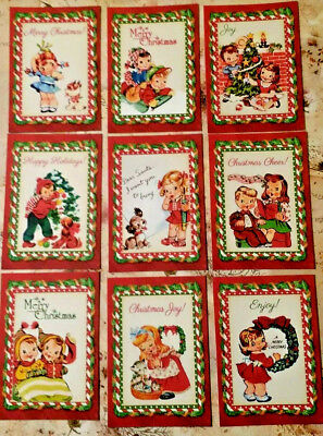 9 Vintage Christmas Kids~Greeting Card Toppers~Scrapbooking~Card Craft Making
