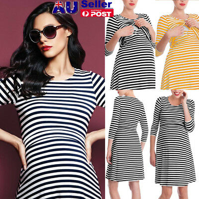 Pregnant Women Striped Long Sleeve Nursing Dress Breastfeeding Dress AU STOCK