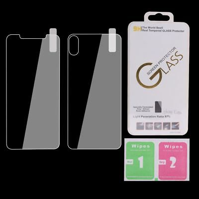 For iPhone X XS Max XR Front And Back Rear Tempered Glass Screen Protector Film