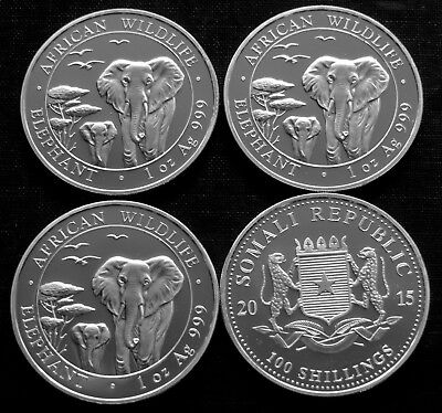 Lot Of 4  2015 Somalia 1 Oz .999 Silver Elephant - Bu! - African Wildlife Series