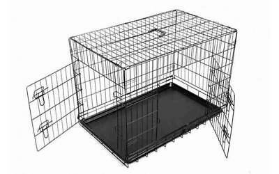 """24"""" Pet Dog Puppy Cat Travel Crate Cage Black Small Folding Car Boot Carrier"""