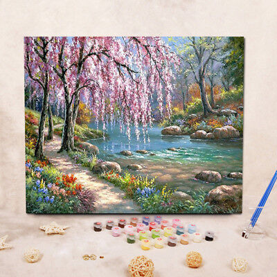 DIY Art Oil Painting by Numbers Balloon Tree Flower Couple Canvas Kit Home Decor